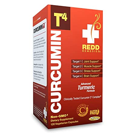 Redd Remedies – Curcumin T4, Promotes Joint Comfort and Response to Stress, 120 Count