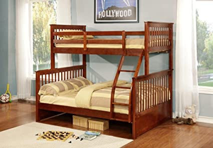 Amazon Com Walnut Finish Wood Twin Over Full Size Convertible Bunk