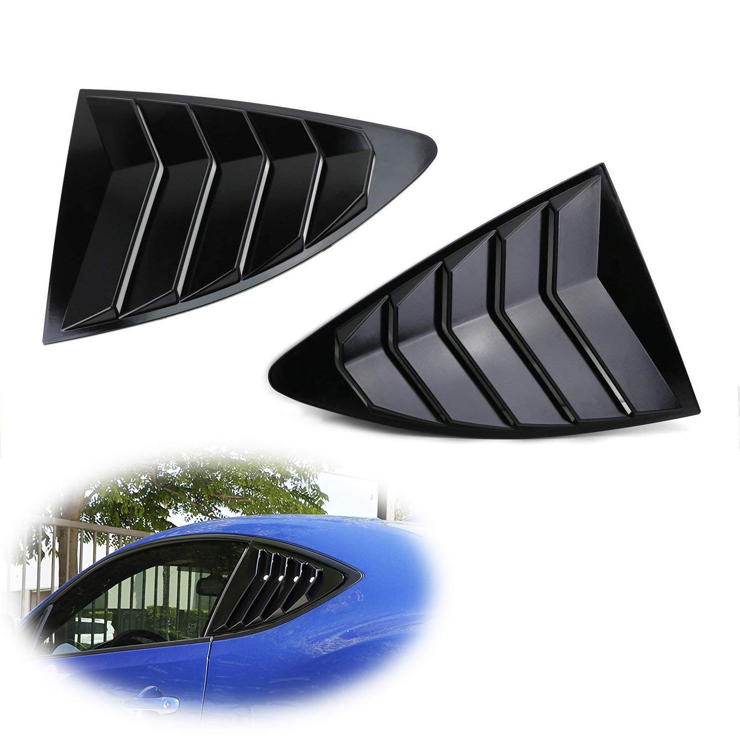 iJDMTOY Left/Right Glossy Finish Racing Style Rear Side Window Scoop Air Vent/Louver Shades For 2013-up Scion FR-S Subaru BRZ and Toyota 86 iJDMTOY Auto Accessories Air Vent Scoop Louver Assembly Assy Kit