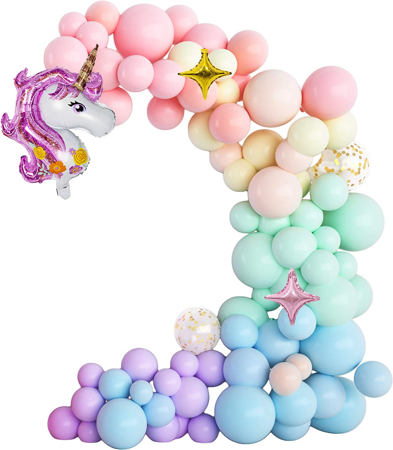 Tbwisher Unicorn Balloons Birthday Party Supplies - Pack of 79 for Birthday Balloon Bouquet Decorations, Baby Shower, Home Office Decor, Birthday Backdrop,Wedding, Anniversary Graduation Party
