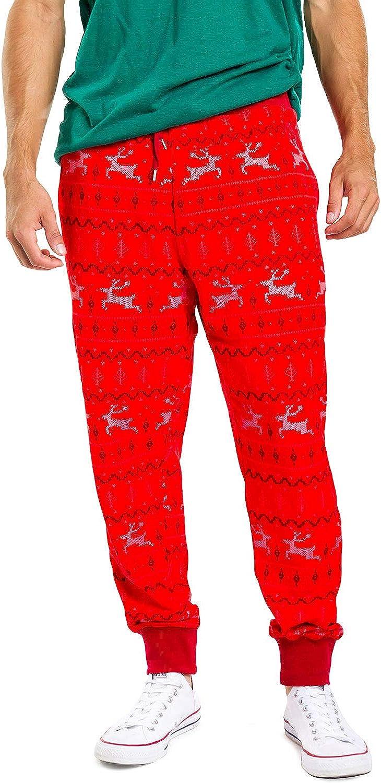 Tipsy Elves Men's Funny Christmas Jogger Pants - Holiday Xmas Pajama Pants for Males