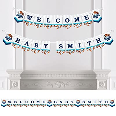 Big Dot of Happiness Custom Go, Fight, Win - Personalized Sports Baby Shower Bunting Banner & Decorations - Welcome Baby Custom Name Banner: Toys & Games