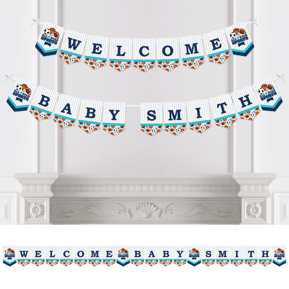 Big Dot of Happiness Custom Go, Fight, Win - Personalized Sports Baby Shower Bunting Banner & Decorations - Welcome Baby Custom Name Banner
