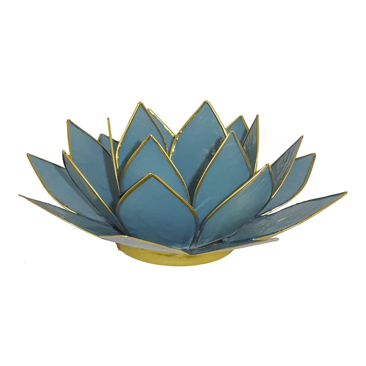 The Crabby Nook Lotus Tea Light Candle Holder Capiz Shell Decorating Accent Home Decor (Dark Green) 47677