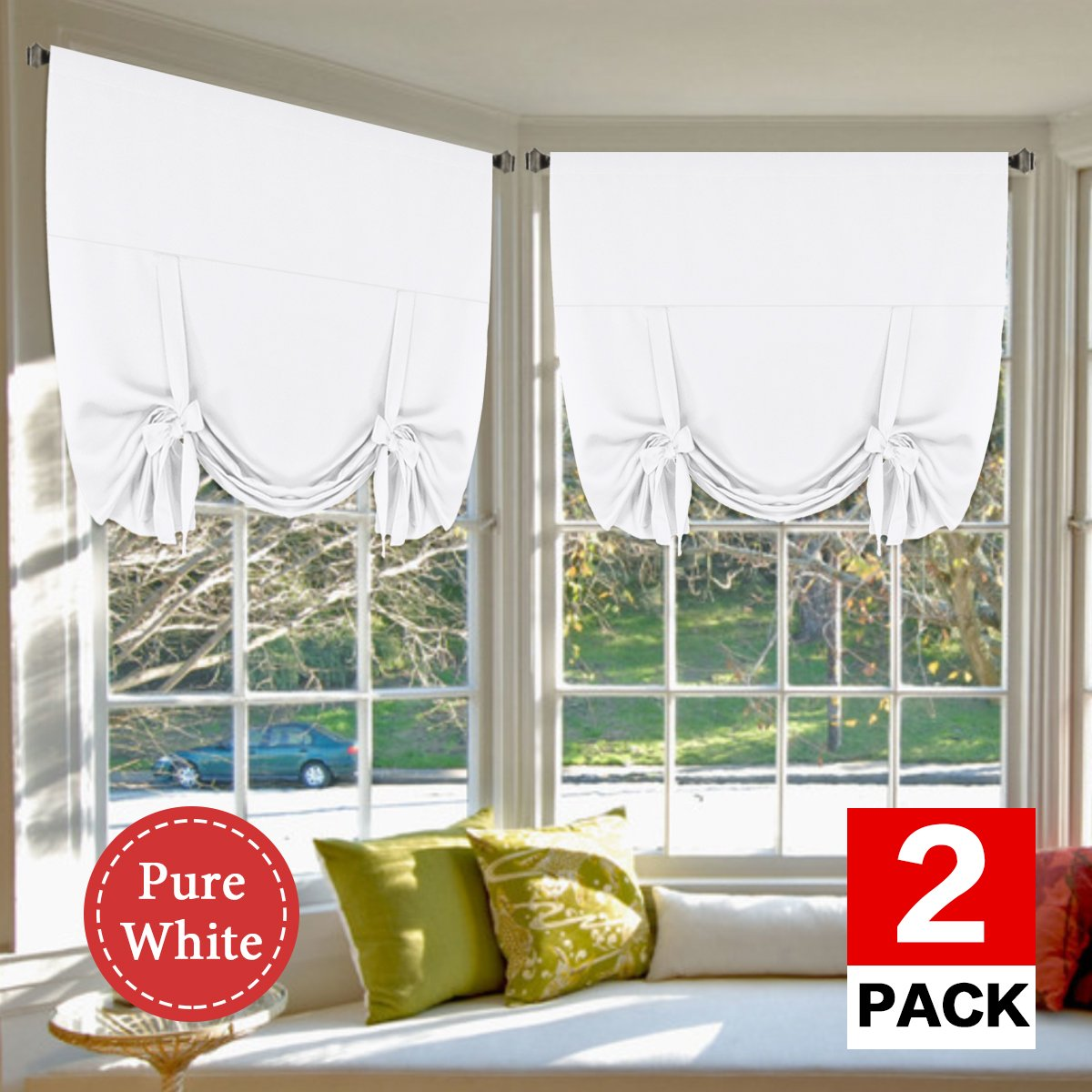 H.VERSAILTEX Pure White Curtains Home Decoration Easy Care Thermal Insulated Solid Rod Pocket Light Blocking Panels/Drapes for Kitchen, 2 Panels, 42W x 63L