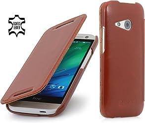 StilGut® UltraSlim Case, custodia in vera pelle versione booklet per HTC One mini 2, cognac