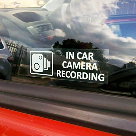 6 x in car camera recording signs cctv security stickers for inside of car