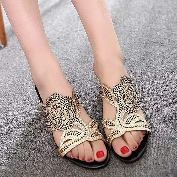 Amazon.com | OrchidAmor 2019 Summer New Womens Fashion Casual Crystal Outdoor Slippers Square Heel Shoes Flower Sandals | Shoes