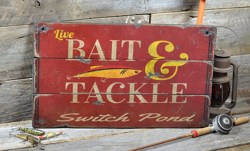 Switch Pond Washington, Bait and Tackle Lake House Sign - Custom Lake Name Distressed Wooden Sign - 22 x 38 Inches