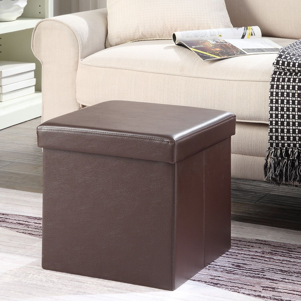 """Total Win - Faux Leather Foldable Storage Ottoman - Brown (15""""Lx15""""Wx15""""H) 