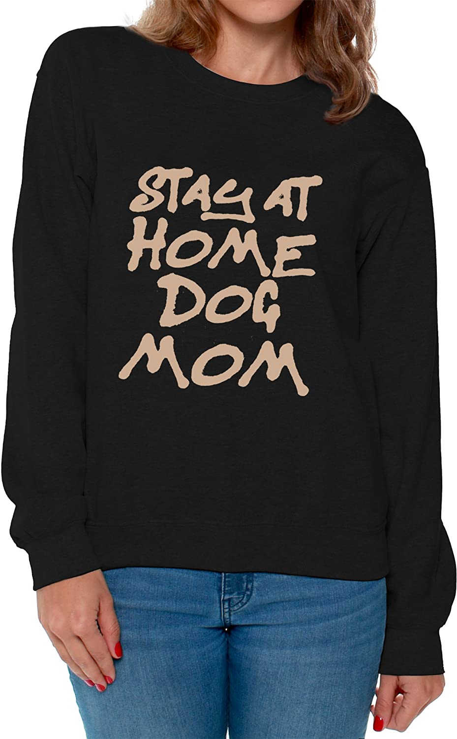 Awkward Styles Women's Stay at Home Dog Mom Graphic Sweatshirt Tops for Dog Lovers