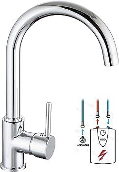 Niederdruck Armatur Küche mit Rundbogenauslauf Küchenarmatur Chrom  Wasserhahn Küche für drucklose Untertischgeräte Waschbecken-armatur