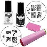 Nailfun Stamping Basic Kit de départ contenant un double tampon une lime du vernis à tampons un pochoir à tampon S7 S8 et S9 Blanc ou noir 10 ml