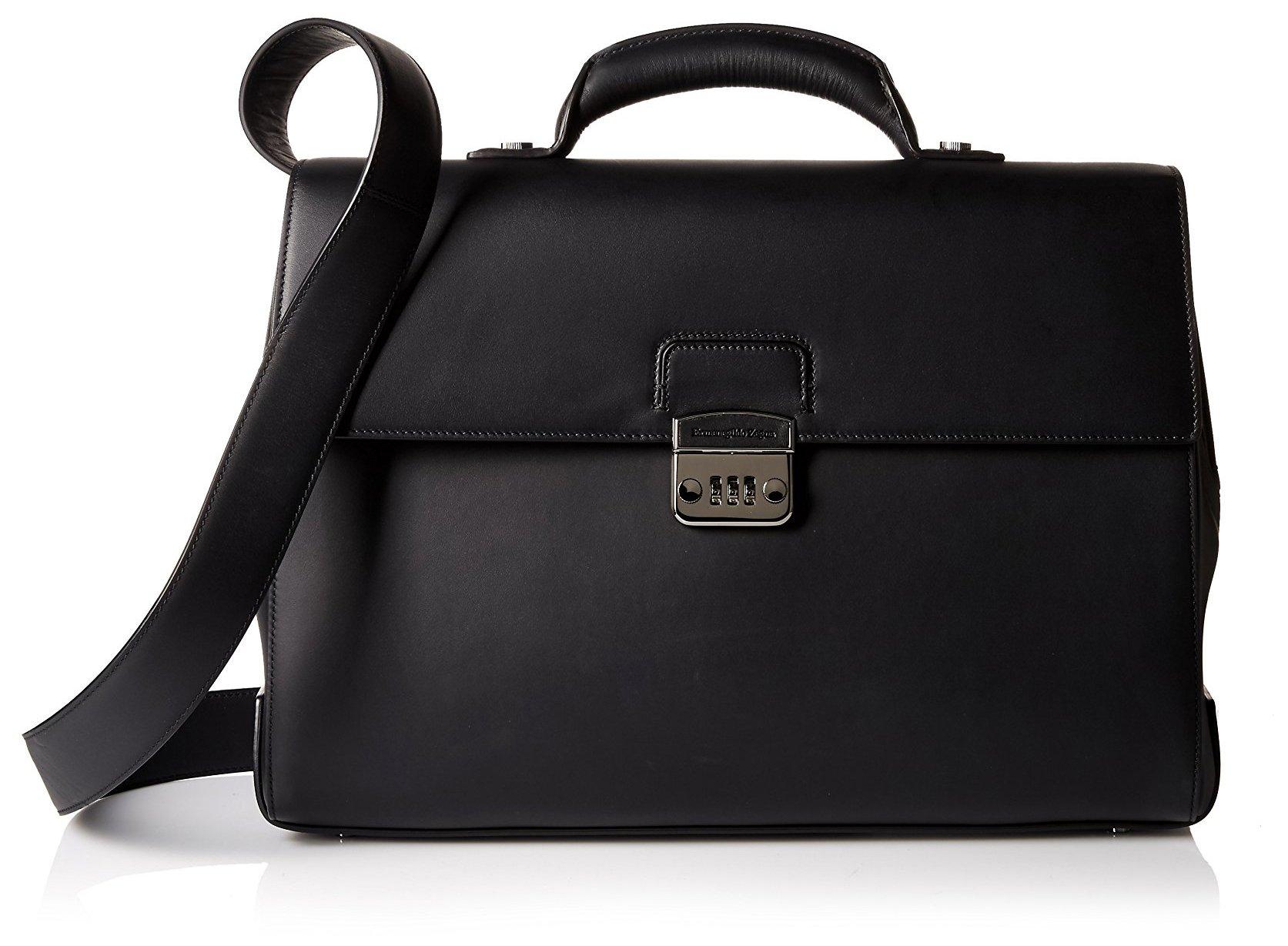 Ermenegildo Zegna Men's Briefcase Bag, Nero