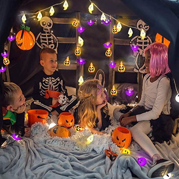 Halloween Decoration Lights String Lights, Set of 3 Battery Operated Fairy Lights 3D Pumpkin Bat Ghost String Lights with 20 LED Each for Indoor Outdoor Halloween Party Decorations, 2 Lighting Modes