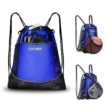 7a40a50f96b2 Elfhao Drawstring Backpack Men & Women Sports Gym Sackpack Waterproof Tote  Bag, Sports Sack, Light Backpack (Dark Blue)