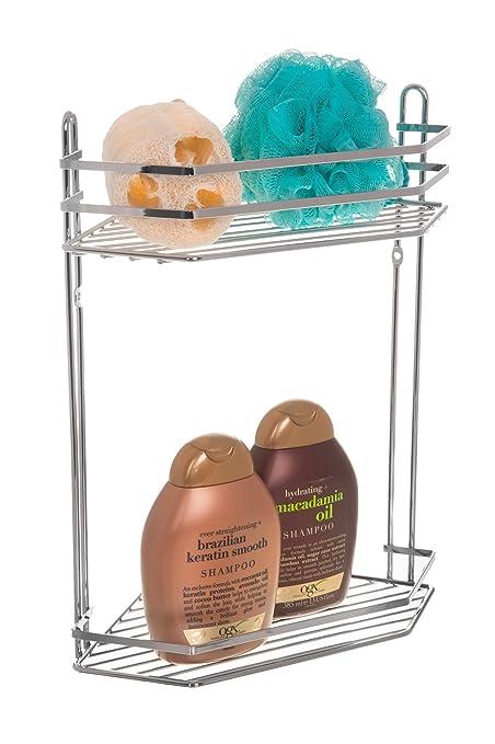 LIVIVO ® 2 Tier Chrome Corner Shower Caddy Bathroom Storage Rack ...