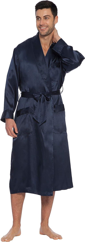 INTIMO Mens Classic Silk Robe, Navy, X-Large