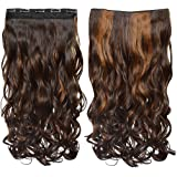 "REECHO 20"" 1-Pack 3/4 Full Head Wavy Clips in on Synthetic Hair Extensions Hairpieces for Women 5 Clips 4.6 Oz per Piece"