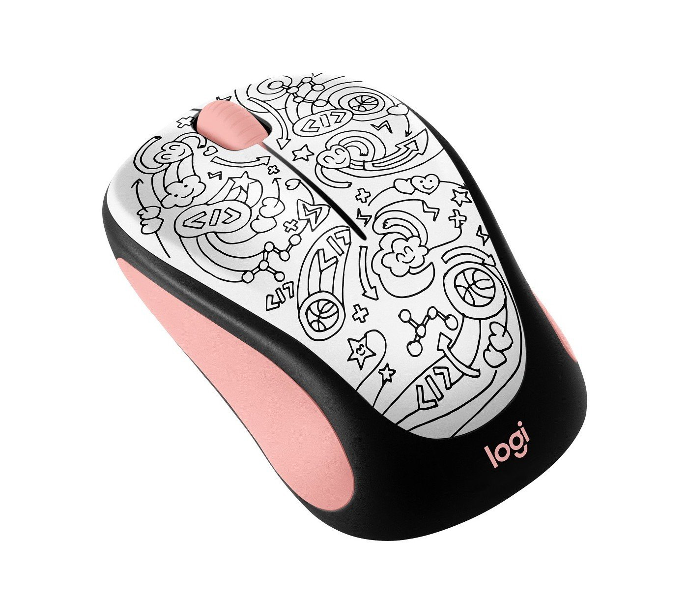 040e9002b54 Amazon.com: Logitech M317 Wireless Mouse - Pink Doodle Brainstorm Pink  (910-005308): Computers & Accessories