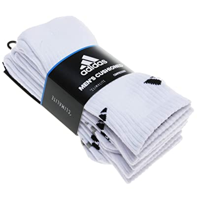 Adidas Men's 3 Pair Cushioned Climalite Compression Crew Socks; White (Shoe Size 6-12): Sports & Outdoors