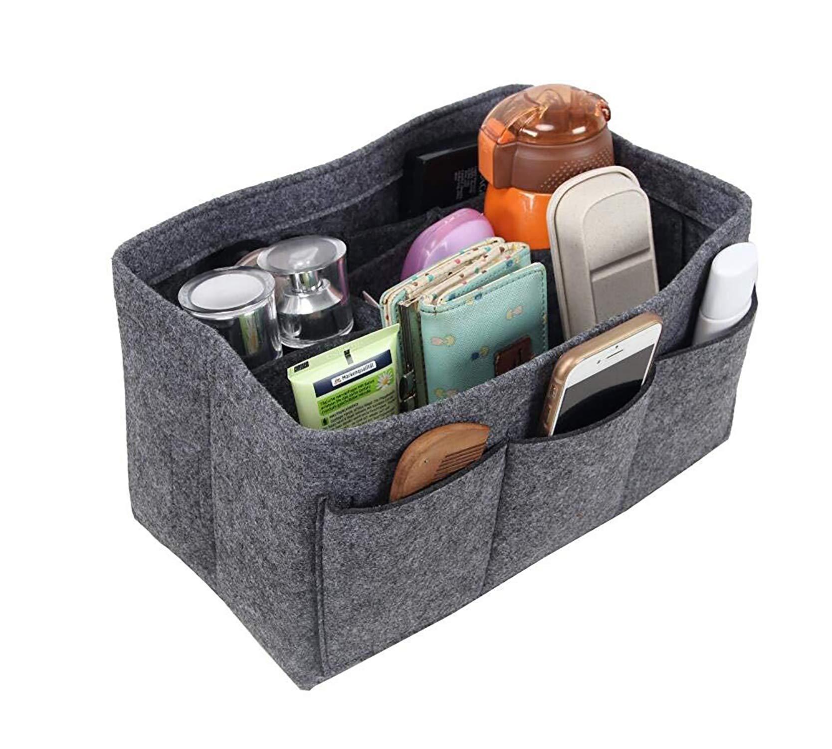 Felt Purse & Bag in Bag Organizer Insert/Multi-Pocket Handbag Shaper-Fit LV Speedy Neverfull Longchamp Tote(S/Grey)