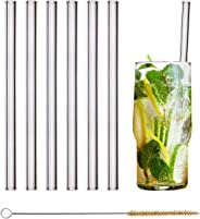 HALM Glass Straws - 6 Reusable Drinking Straws + Plastic-Free Cleaning Brush - Made in Germany - Dishwasher Safe - 20 cm (8 i