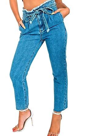 385a976ccb8 Magnusson s Boutique Women High Rise Denim Jeans Tie Waist Belt Paper-Bag  Regular-fit