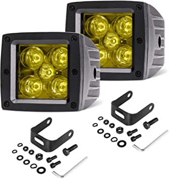 2x 3inch LED Work Light Bar Cube Pods Flood Offroad Fog Driving 4WD Truck Yellow