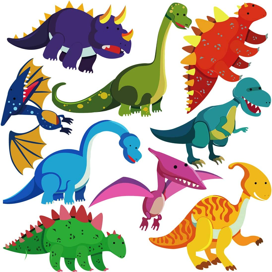 DEKOSH Dinosaur Wall Decals for Nursery Decor | Jurassic World T-rex Colorful Peel & Stick Prehistoric Kids Wall Stickers for Baby Bedroom, Playroom Murals