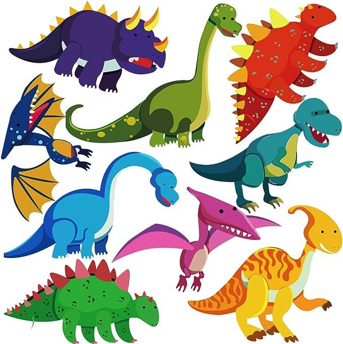 para dormitorio o guarder/ía de felpa Pegatinas de pared para ni/ños con dise/ño de dinosaurio reutilizables