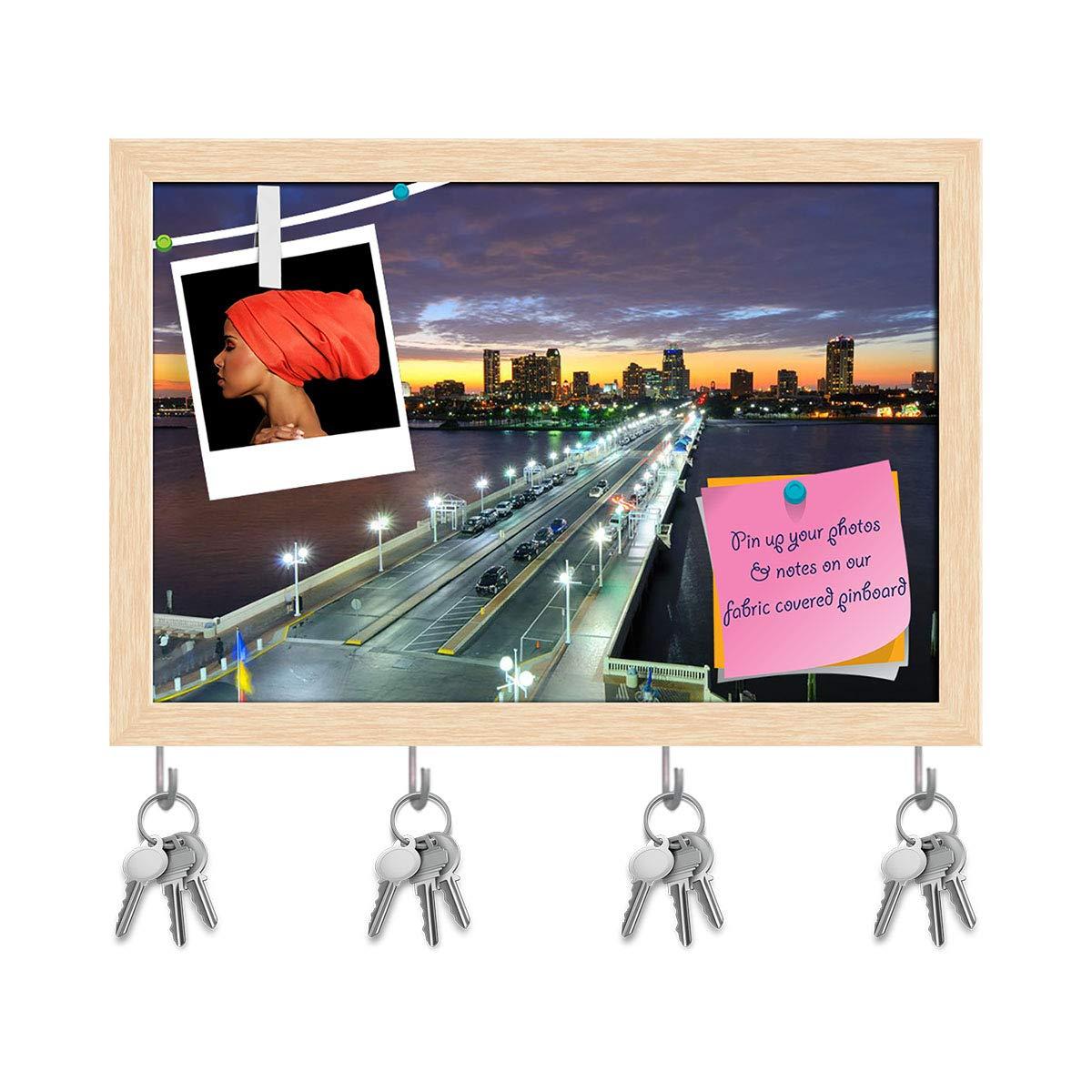 Natural Brown Frame 8.5inch x 6inch (21.6cms x 15.2cms) Artzfolio Skyline of St. Petersburg, Florida, USA Key Holder Hooks   Notice Pin Board   Antique golden Frame 17.6 X 12Inch