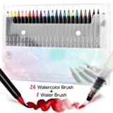 Tobeape 24 Watercolor Brush Pens, Water Color Painting Markers with Flexible Nylon Brush Tips for Adult kids Coloring Books, Comic Calligraphy and Drawing, Birthday Present Choice