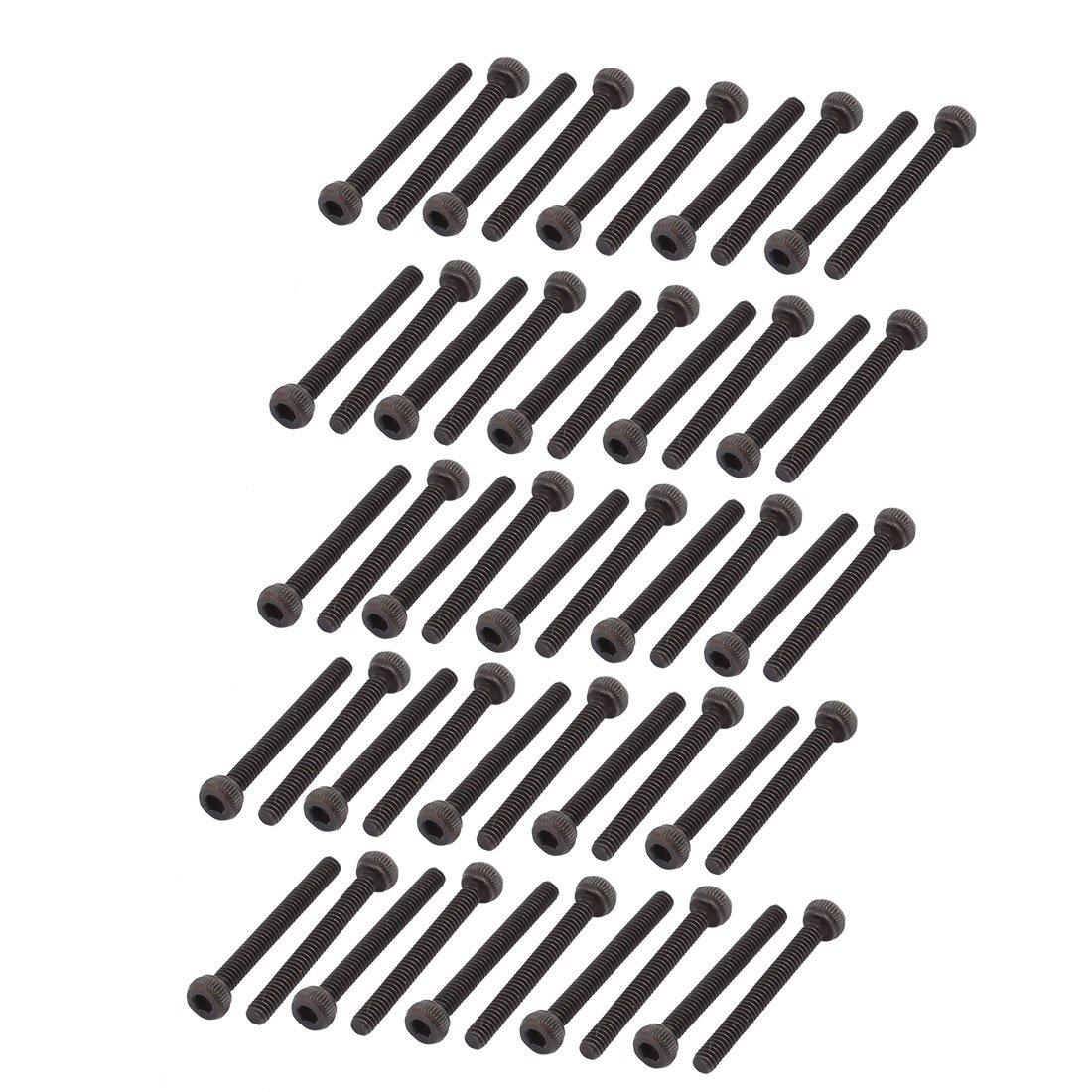uxcell 50Pcs Black M1.8 x 18mm Alloy Steel Hex Bolt Socket Head Cap Machine Screws