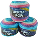 Bernat Pop Worsted Weight Self-Striping 3-Pack Acrylic Yarn 5 Ounces 280 Yards (Snow Queen)