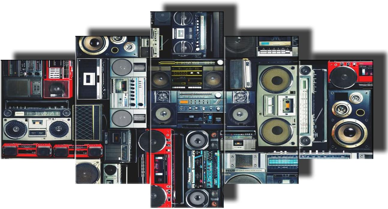 Rustic Home Decor for Living Room Retro Radio Boombox of the 80s Pictures Vintage Speaker Paintings 5 Panel Canvas Modern Artwork Giclee Framed Gallery-wrapped Stretched Ready To Hang(60''Wx32''H)