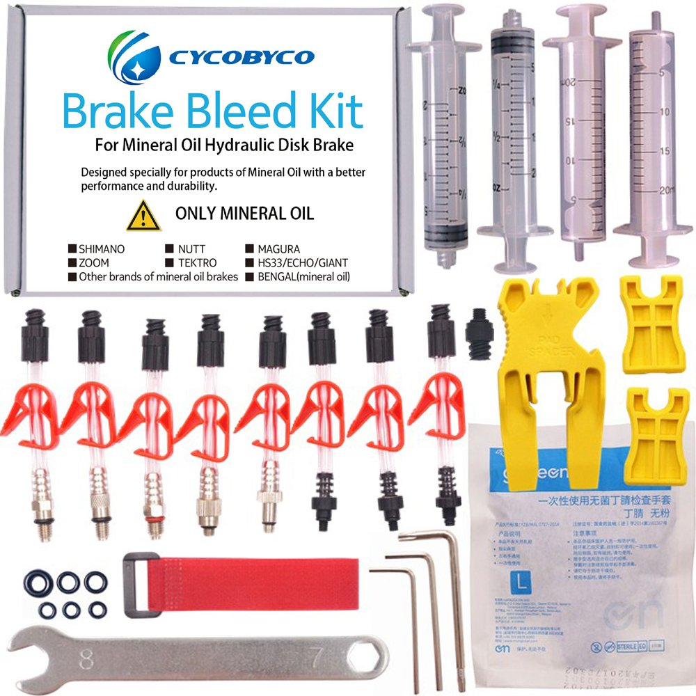 CYCOBYCO Mineral Oil Bicycle Hydraulic Disc Brake Bleed Kit for All Series Shimano/Magura/Tektro/Zoom/CSC/Echo/Giant / HS33 / Nutt Cycling (Genaral kit) by CYCOBYCO