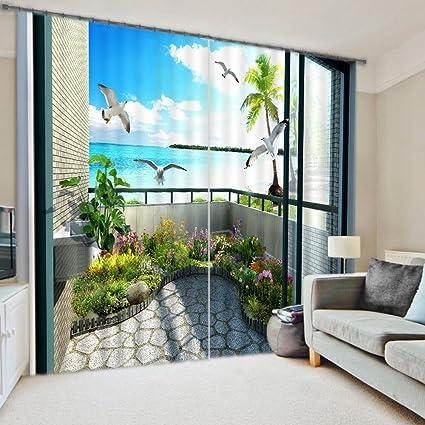 decorative window treatments triple sliding glass door 3d sea view seagull print blackout curtain wide durable practical polyester decorative window treatment 2 amazoncom