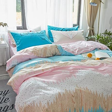 EnjoyBridal Kids Bedroom Ombre Rainbow Pattern Bedding Cover  Set(Twin,Queen),100