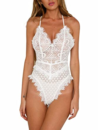 Simplee Apparel Women s Floral Lace Strap Backless Mesh Bodysuit Push up  Teddy Lingerie 39aea23e9