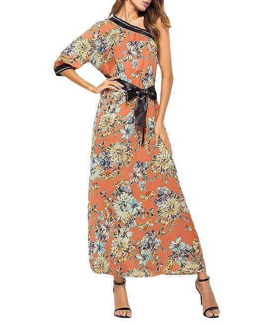 Vestidos Mujer Largos Elegante Verano Mangas 3/4 One-Hombro Sin Tirantes Espalda Abierta