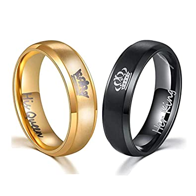 0d6df71f31 Buy Impression Beautiful Black and Gold His Queen Her King Stainless Steel  Couple Rings, King/Queen Rings Engagement Promise Rings for Men and Women  Online ...