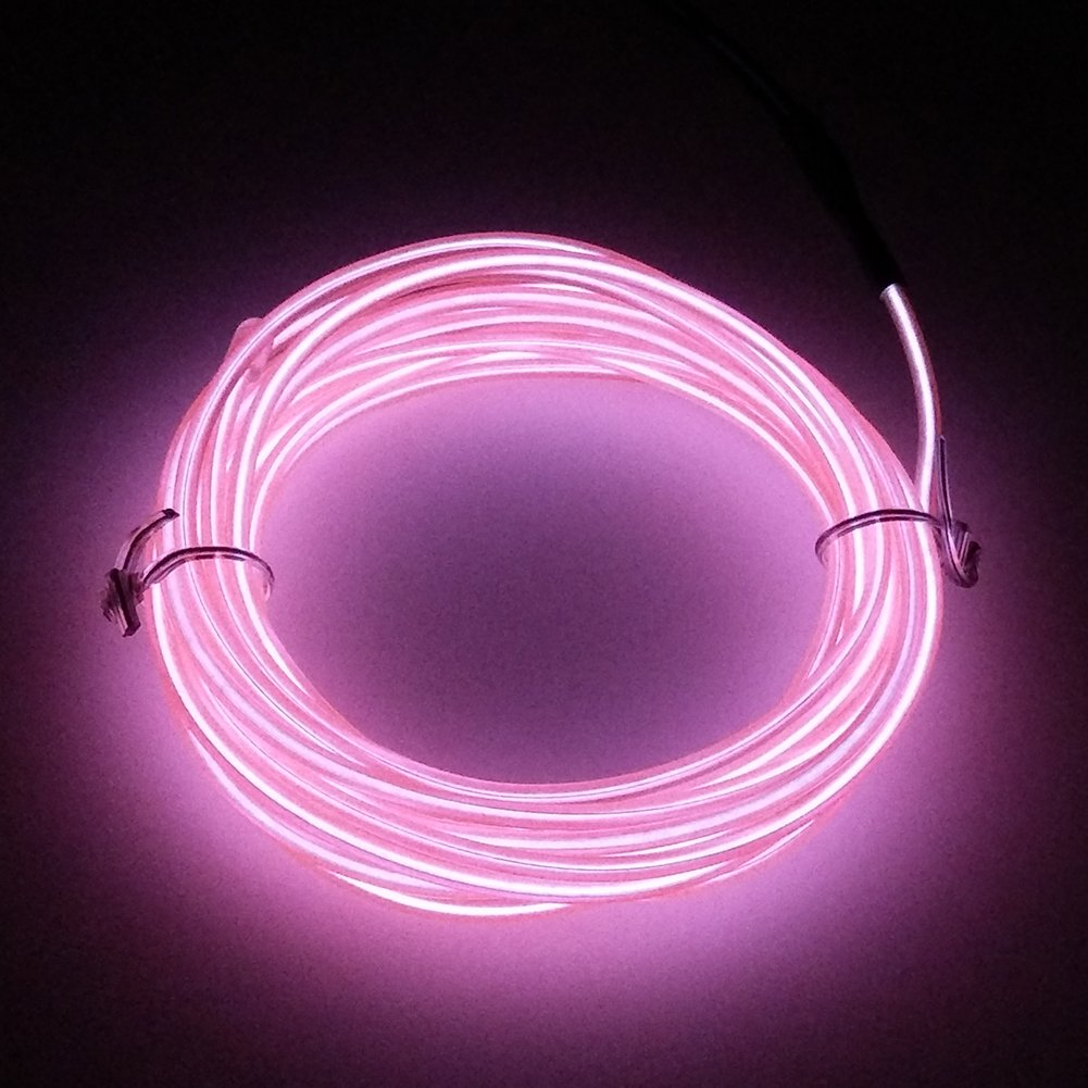 Pink LEDHOLYT 9ft 3m Neon Glowing Strobing EL Electroluminescent Wire Kit Light Burning Man Halloween Festival Day Thanksgiving Day Christmas Year Birthday Party Decoration