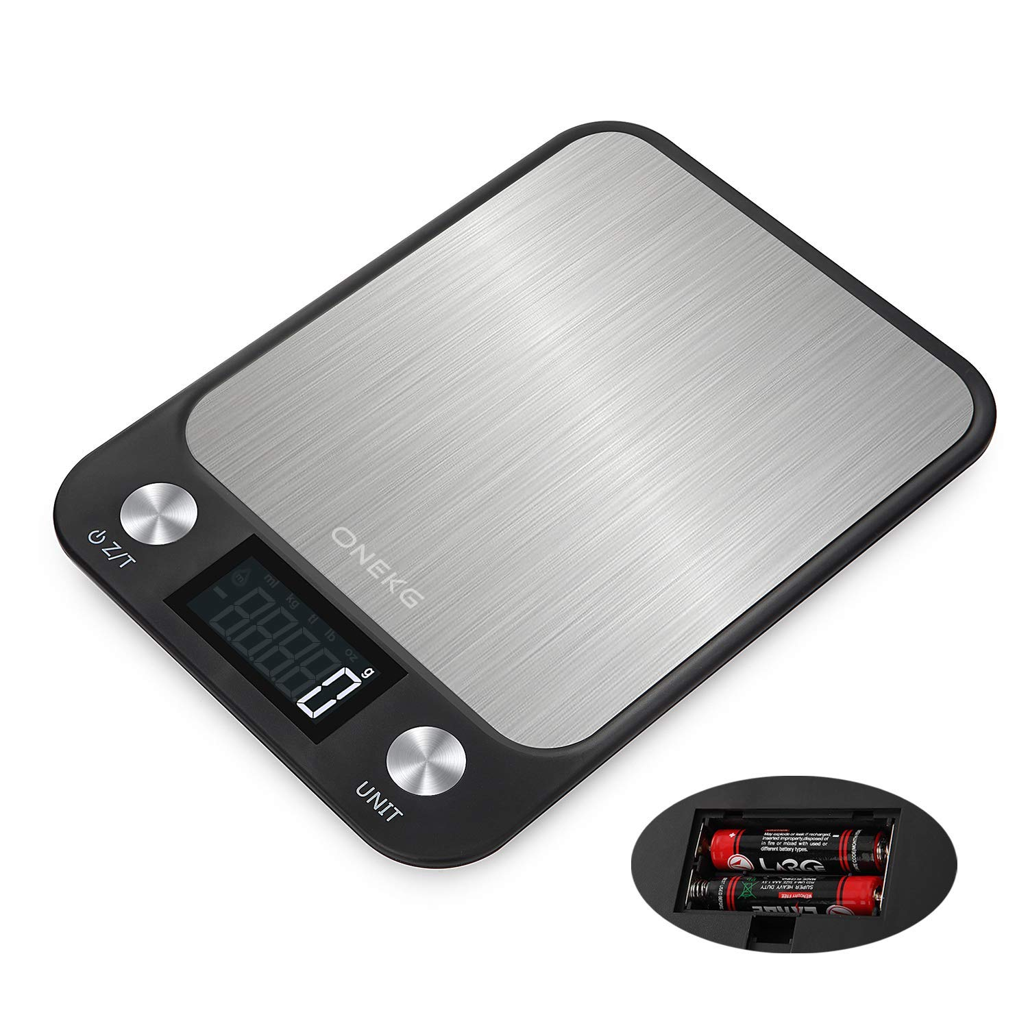 ONEKG Digital Food Kitchen Scale, 7 Units LCD Display Scale in KG, G, oz, lb, tl, ml and ml(Milk), Max 11lbs/5kg Precise Scale for Cooking and Baking, Stainless Steel, Easy Clean (Batteries Included)