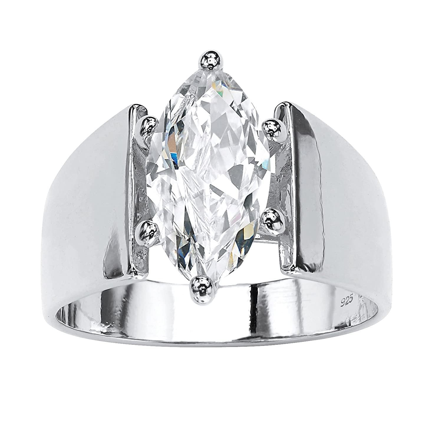 Amazon Sterling Silver Marquise Cut Cubic Zirconia Wide Band Solitaire Engagement Ring Jewelry: Women Wedding Rings Wide Band Solitaire At Reisefeber.org