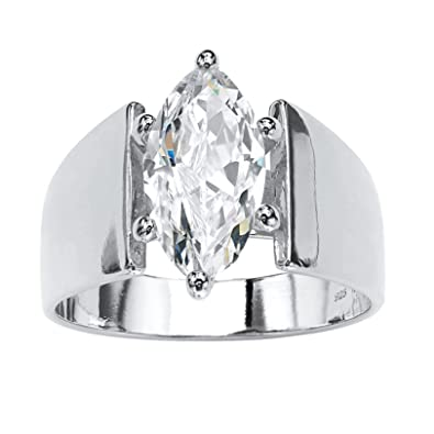 fbb5058bd Sterling Silver Marquise Cut Cubic Zirconia Wide Band Solitaire Engagement  Ring Size 5