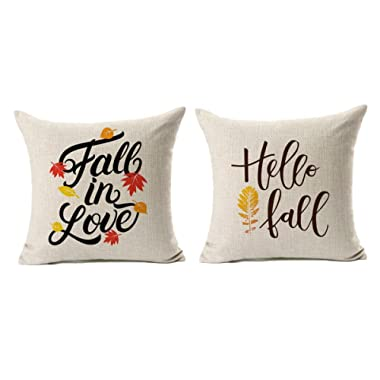 Fall Quotes Throw Pillow Case Autumn Leaf Cushion Cover Cotton Linen 18  x 18  Set of 2(Fall In Love & Hello Fall)