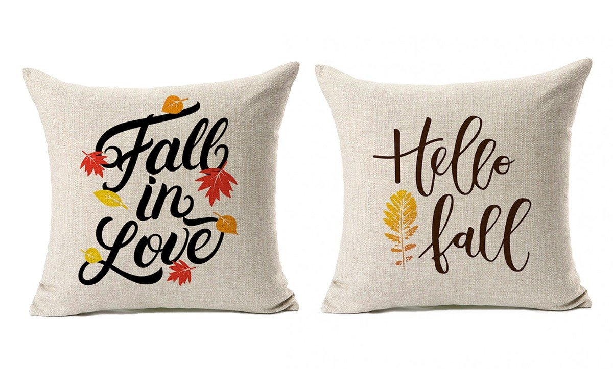 Fall Quotes Throw Pillow Case Autumn Leaf Cushion Cover Cotton Linen 18'' x 18'' Set of 2(Fall In Love & Hello Fall)