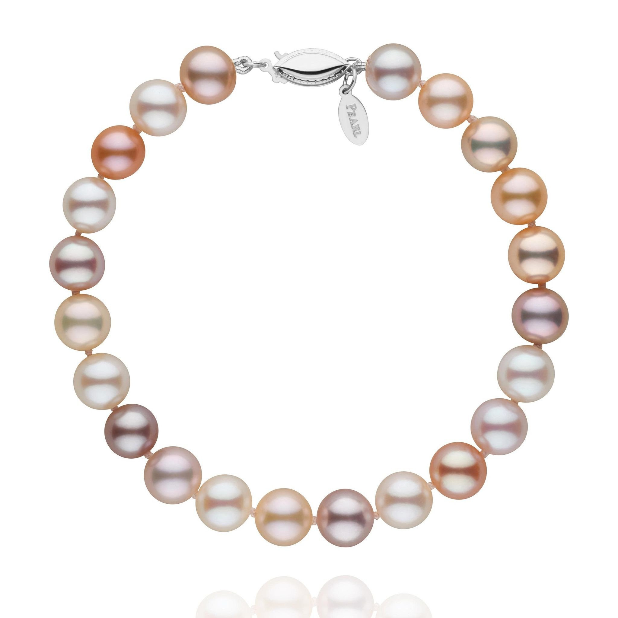7.5-8.0 mm Multicolor Freshadama Cultured Pearl Bracelet - 7 inch - 14K White Gold