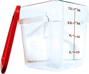 Tiger Chef 8 Quart Commercial Grade Clear Food Storage Square Polycarbonate Containers With Red Lids